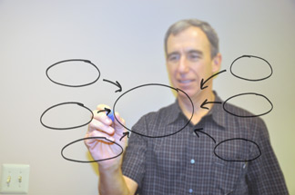 man drawing diagrams