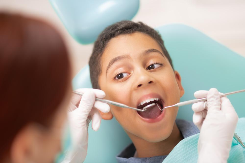 Boy getting teeth cleaned